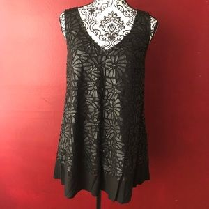 Plenty by Tracy Reese P XS black floral tank top